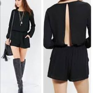 UO LUCCA COUTURE Black Crepe Open Back Romper XS